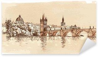 Sticker Pixerstick Panorama de Prague. Vue du pont Charles et la rivière Vltava.