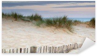 Sticker Pixerstick Panorama paysage de dunes de sable sur la plage système au lever du soleil