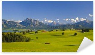 Sticker Pixerstick Panorama paysage en Bavière avec les montagnes des Alpes