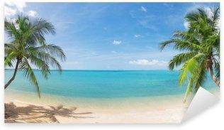 Sticker Pixerstick Panoramique plage tropicale avec cocotiers