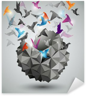 Sticker - Pixerstick Paper Freedom, Origami abstract vector illustration.