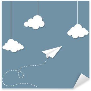 Sticker Pixerstick Paper plane et les nuages