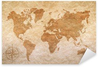 Sticker Pixerstick Papier vintage avec carte du monde