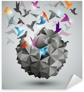 Pixerstick Sticker Papier Vrijheid, Origami abstracte vector illustratie.