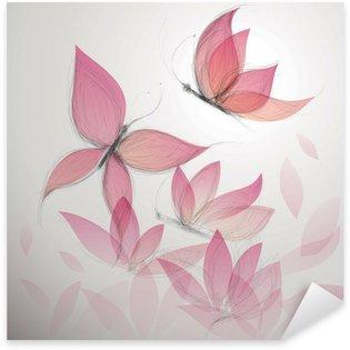Sticker Pixerstick Papillon comme la fleur / Surréalisme fond floral