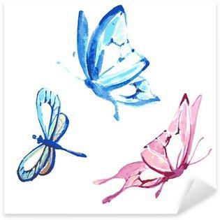 Sticker Pixerstick Papillon, conception d'aquarelle