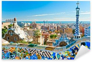 Sticker Pixerstick Parc Guell à Barcelone, en Espagne.