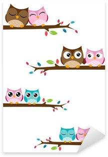 Pixerstick Sticker Paren van uilen zittend op takken