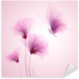 Sticker Pixerstick Pastel papillon et de fleurs délicates