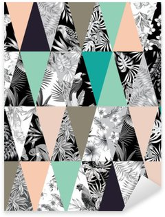 Sticker Pixerstick Patchwork tropical seamless background