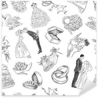 Pixerstick Sticker Patroon van de bruiloft symbolen