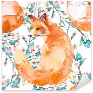 Pixerstick Sticker Patroon van wilde dieren. Fox en bloeiende takken. .