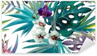 pattern orchid hibiscus leaves watercolor tropics Sticker - Pixerstick