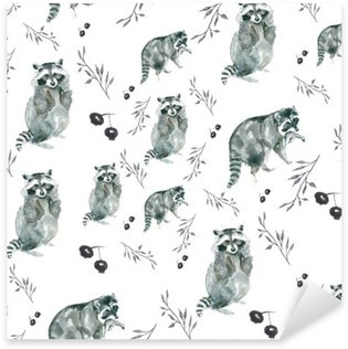 pattern raccoons. Raccoons and small branches, berries. Watercolor Sticker - Pixerstick