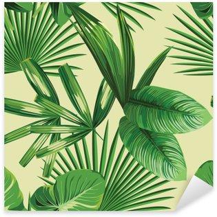 Sticker Pixerstick Paume tropical feuilles de fond sans soudure