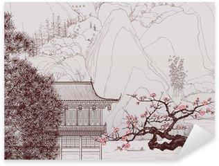 Sticker Pixerstick Paysage chinois