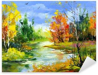 Sticker Pixerstick Paysage d'automne avec la rivière de bois