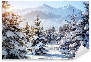 Sticker Pixerstick Paysage de montagne en hiver