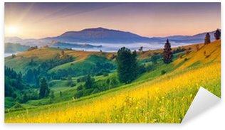 Sticker Pixerstick Paysage de montagnes