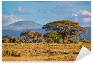 Sticker Pixerstick Paysage de savane en Afrique, Amboseli, au Kenya