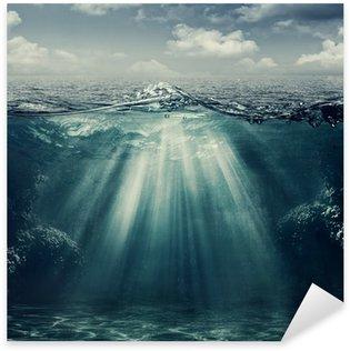 Sticker Pixerstick Paysage marin de style rétro avec vue sous-marine