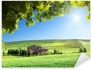 Sticker Pixerstick Paysage Toscane avec la maison de ferme typique