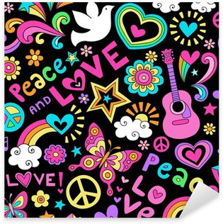 Peace and Love Seamless Pattern Vector Doodle Sticker - Pixerstick