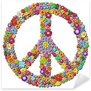Sticker - Pixerstick Peace Symbol Groovy Flowers Design-Pace Simbolo Floreale
