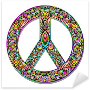 Sticker - Pixerstick Peace Symbol Psychedelic Art Design-Simbolo Pace Psichedelico