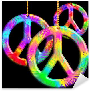 Sticker - Pixerstick Peace Symbols Psychedelic Ornaments-Simbolo Pace Psichedelico