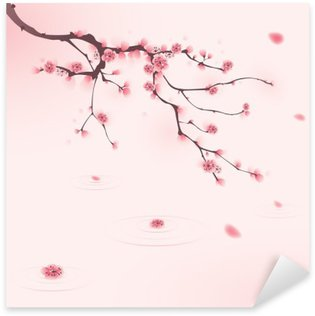 Sticker Pixerstick Peinture de style oriental, fleur de cerisier au printemps