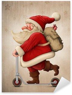 Sticker Pixerstick Père Noël et la trottinette