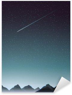 Sticker Pixerstick Perspective de montagne avec la comète quand la nuit