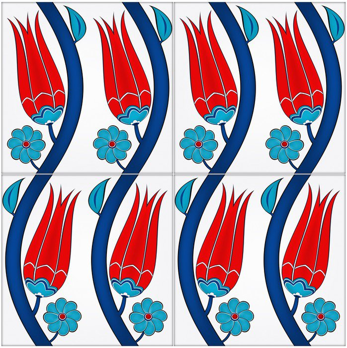 Sticker - Pixerstick Photorealistic illustration of a seamless Turkish tile - The Middle East