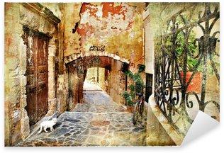 Pixerstick Sticker Picturale oude straten van Griekenland, Kreta