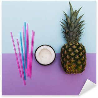 pineapple and half of coconut for party with straws in pastel Sticker - Pixerstick