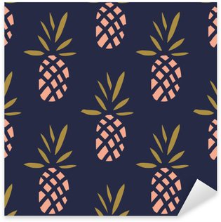 Pineapples on the dark background. Vector seamless pattern with tropical fruit. Pixerstick Sticker