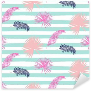Pink banana palm leaves seamless vector pattern on striped blue background. Tropical banana jungle leaf. Sticker - Pixerstick
