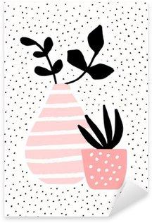 Pink Vase and Pot with Plants Sticker - Pixerstick