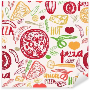 Pizza hand drawn seamless pattern with olives, words, tomatoes and slices for banners, wrapping paper.