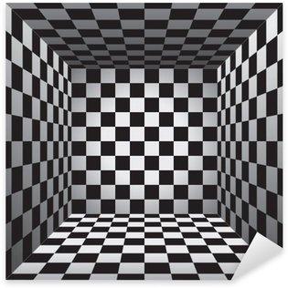 Pixerstick Sticker Plaid room, zwart en witte bloedcellen, 3d schaakbord, vectorontwerpachtergrond