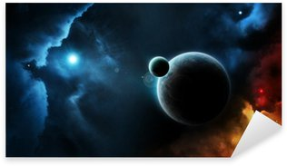 Planet system blue star in deep space Sticker - Pixerstick