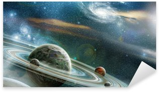 Planet with numerous prominent ring system Sticker - Pixerstick