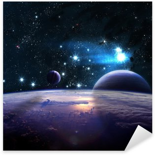 Planets over the nebulae in space Sticker - Pixerstick