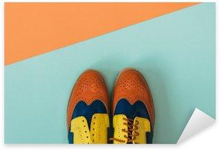 Pixerstick Sticker Plat fashion set: gekleurde vintage schoenen op gekleurde achtergrond. Bovenaanzicht.