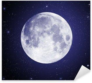 Sticker Pixerstick Pleine Lune en haute résolution avec des étoiles en arrière-plan
