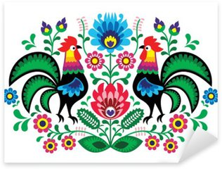 Polish floral embroidery with cocks - traditional folk pattern Sticker - Pixerstick