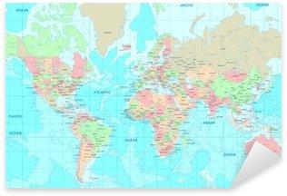 Political World map Sticker - Pixerstick