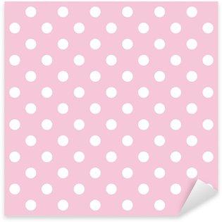Sticker - Pixerstick Polka dots on baby pink background retro seamless vector pattern