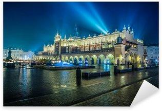 Sticker Pixerstick Pologne, Cracovie. Place du Marché de nuit.